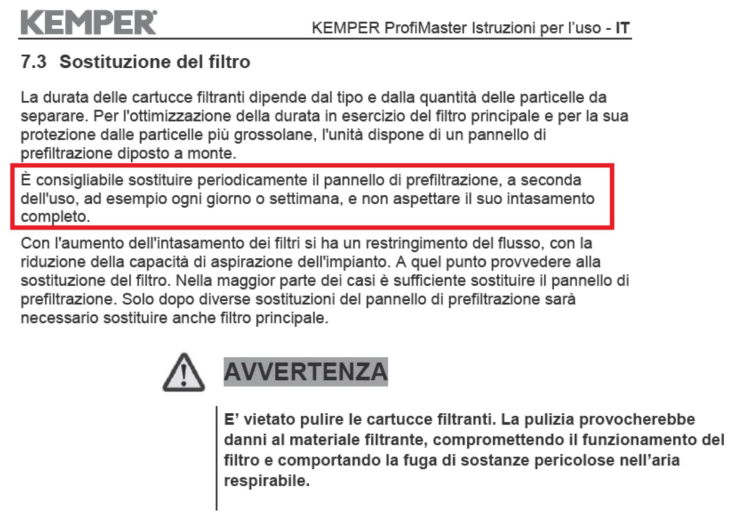 Manuale istruzioni aspiratore
